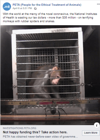 NIH Monkey Fright Experiments Facebook Ad