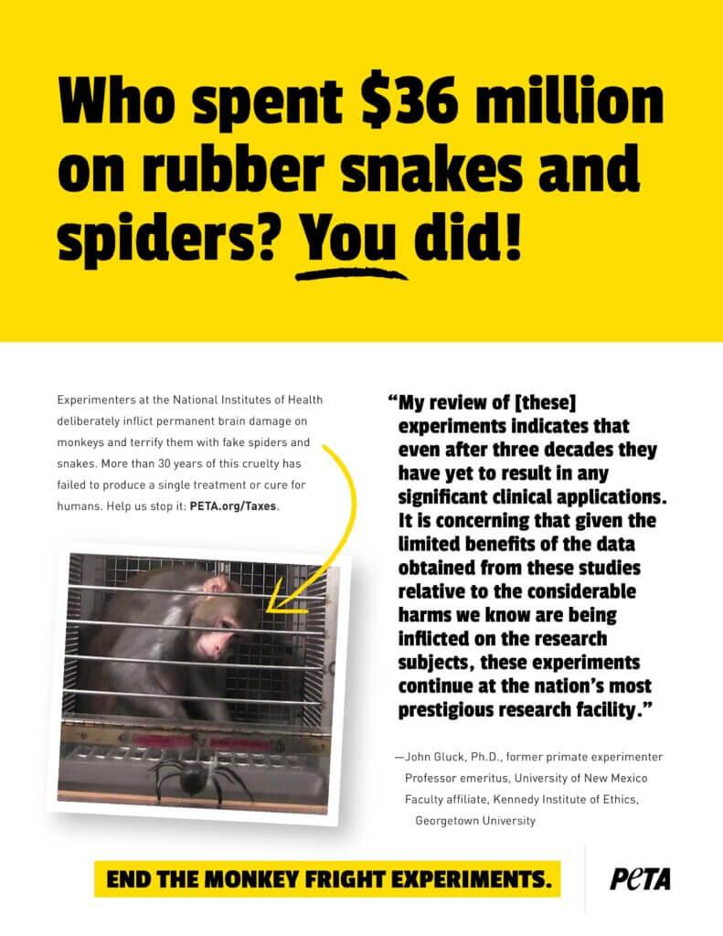 NIH Monkey Fright Experiments Ad